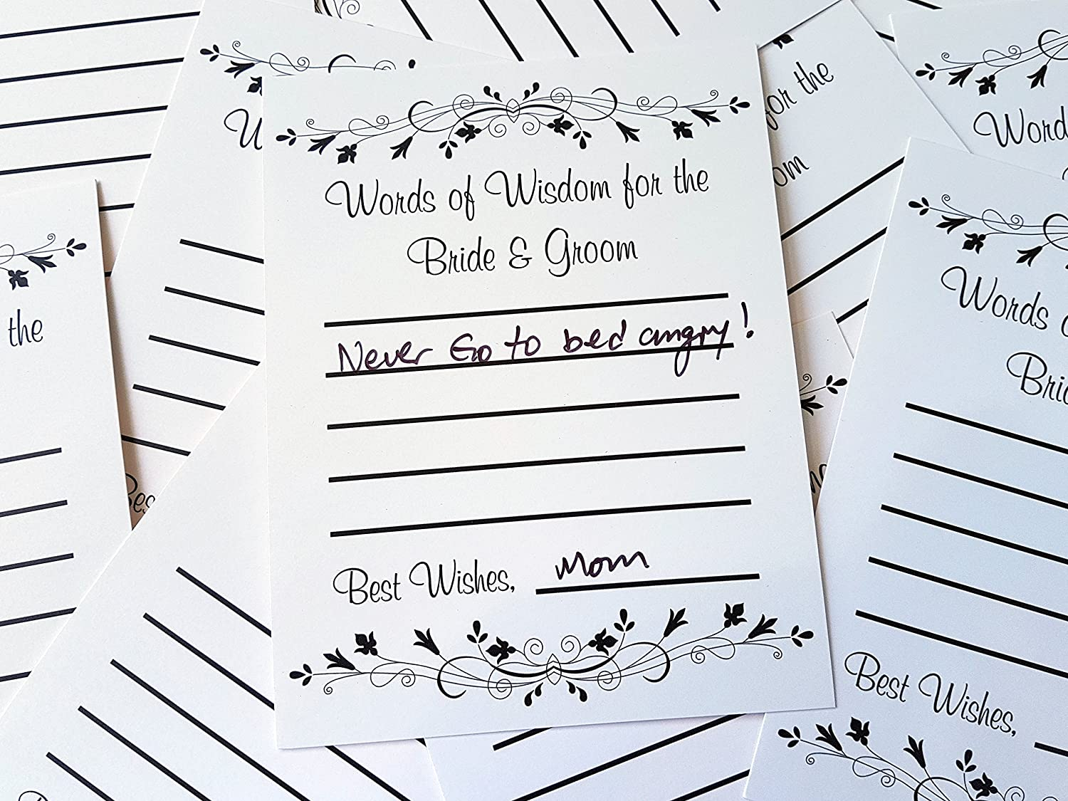 Rustic Wedding Bride /& Groom - Advice for the Newlyweds Set of 10 Bridal Shower Game Wedding Advice Cards Cream Wish Cards