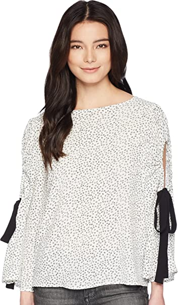 b3783e6c7d91cf Vince Camuto Specialty Size Womens Petite Bell Sleeve Flower Ditsy Tie Cold-Shoulder  Blouse New Ivory PS at Amazon Women s Clothing store