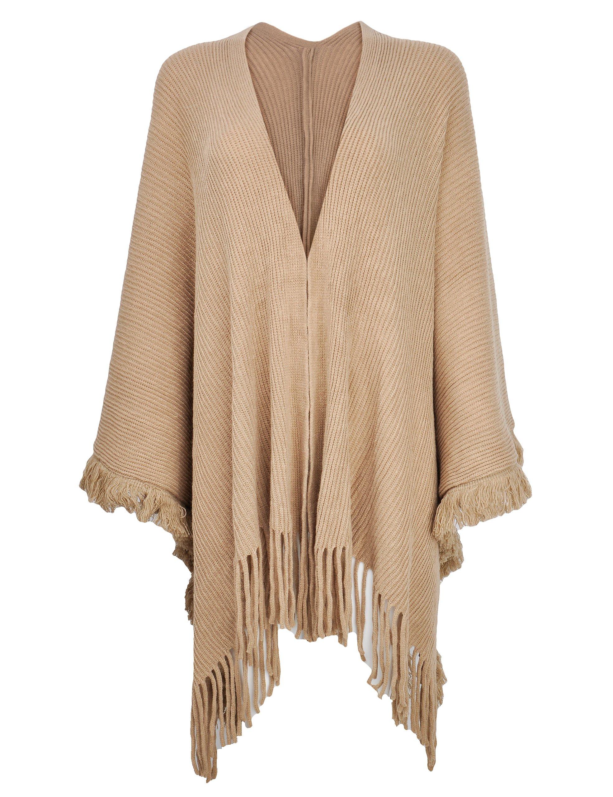 ZLYC Women's Shawl Wrap Open Front Fringe Poncho Cape Sweater Coat Cardigan (Khaki)