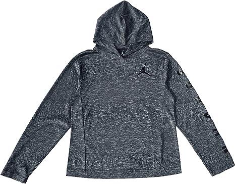 ciervo omitir Guante  Amazon.com: Jordan Big Boys Long Sleeve Dri Fit Lightweight Printed Hoodie  (Large, Grey): Clothing