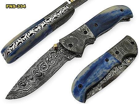 Poshland Knives FN-S-334, Handmade Damascus Steel Folding Knife Beautiful Colored Bone Handle with Damascus Steel Bolster