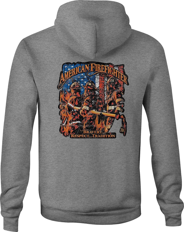 Fire Fighter Zip Up Hoodie Bravery Hooded Sweatshirt for Men