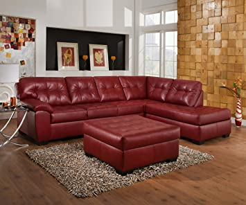 best website af9a3 22610 Amazon.com: Simmons Cardinal Burgundy Leather sectional ...