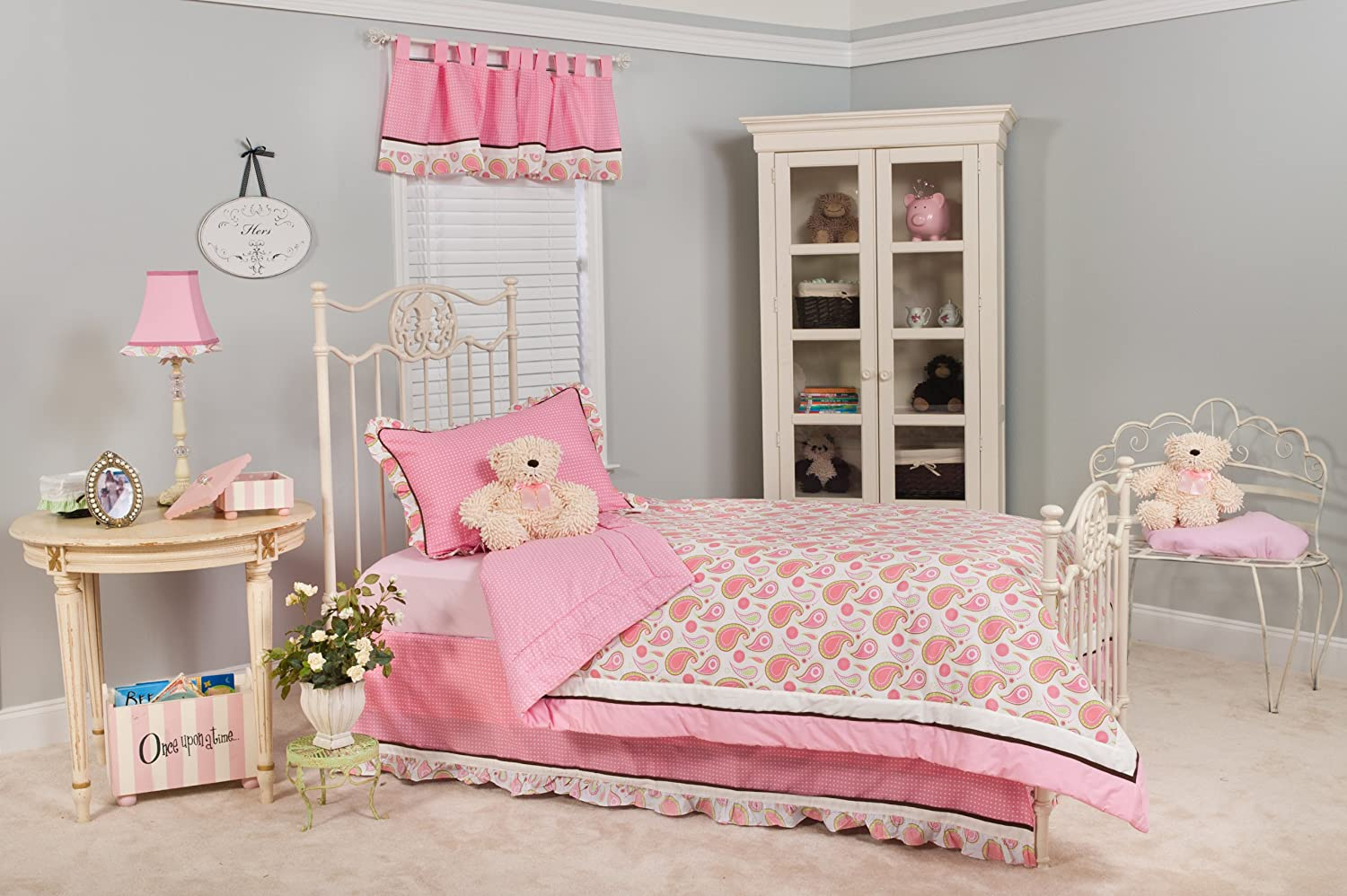 Pam Grace Creations Pam's Paisley Queen Bedding Set, Pink, White, Green