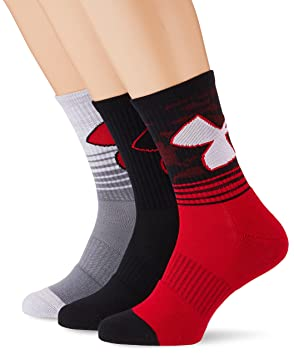 Under Armour UA Phenom 2.0 Crew Holiday 3 Pares de Calcetines, Hombre, Rojo, M: Amazon.es: Deportes y aire libre