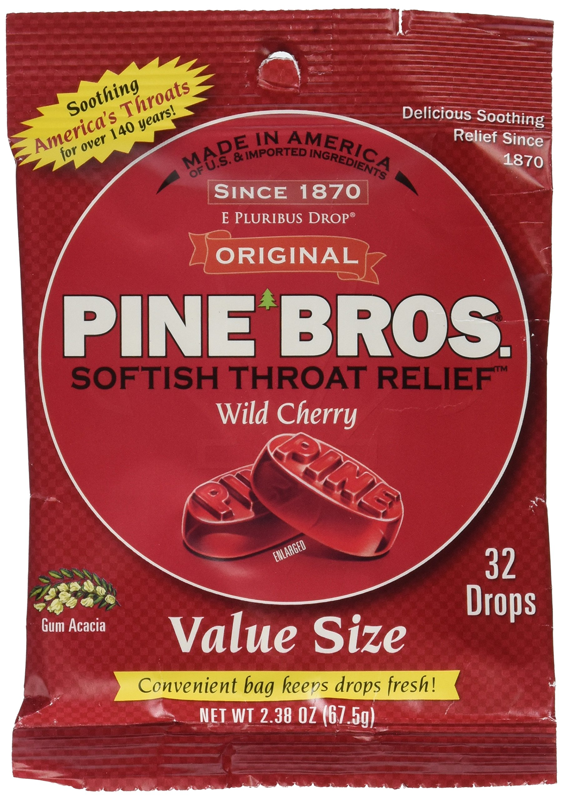 Pine Bros. Softish Throat Drops Value Size Wild Cherry - 32 Drops, Pack of 3
