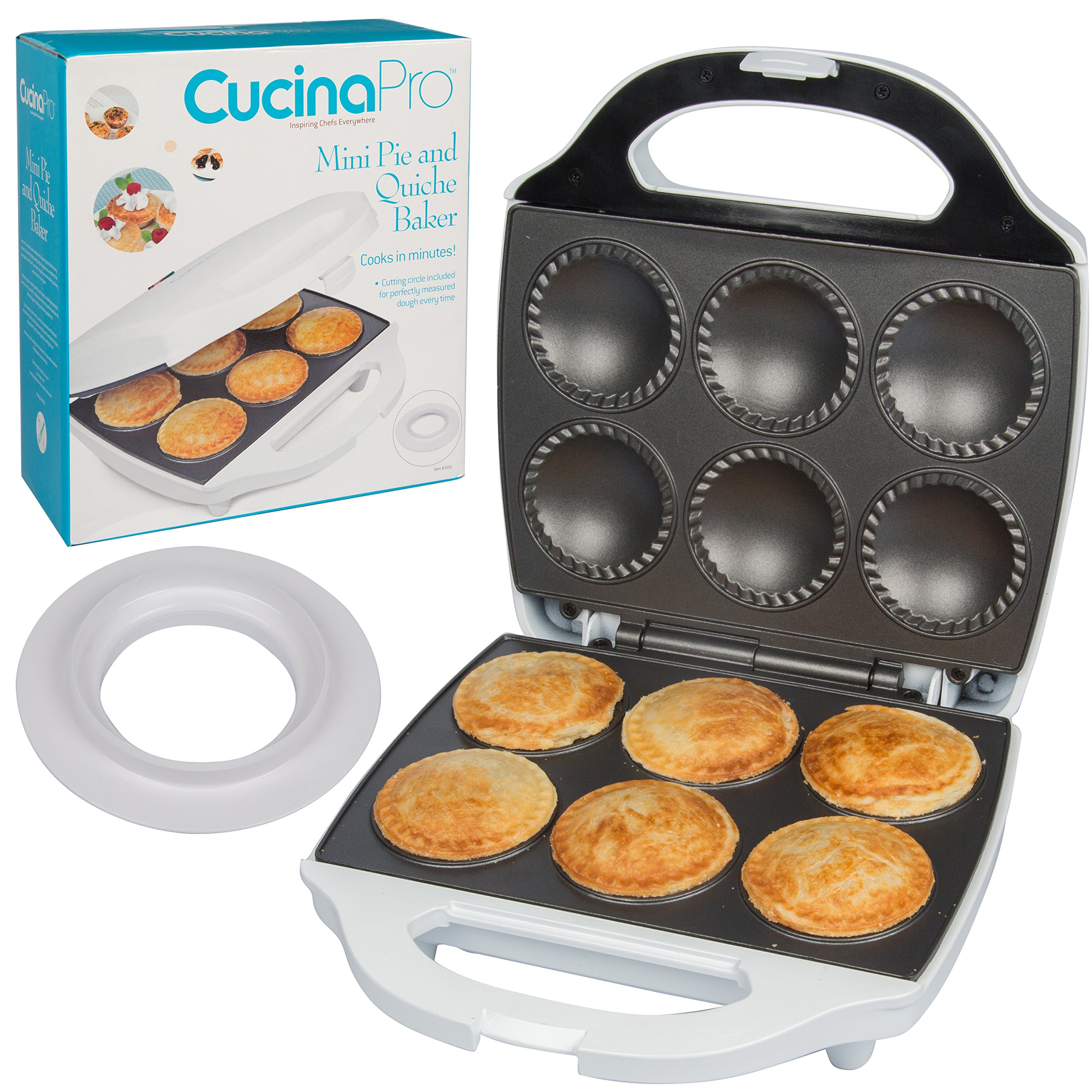 Mini Pie and Quiche Maker- Pie Baker Cooks 6 Small Pies and Quiches in Minutes- Non-stick Cooker w Dough Cutting Circle for Easy Dough Measurement