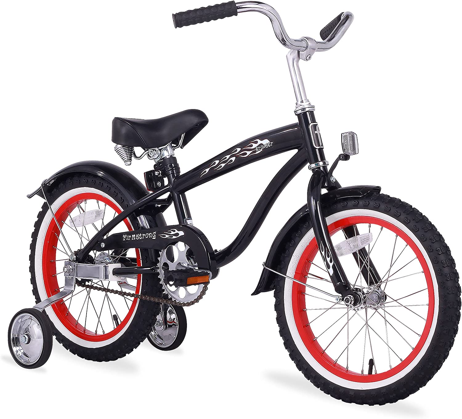 Firmstrong Bruiser Boy s Single Speed Bicycle w Training Wheels, 16-Inch, Black w Red Rims