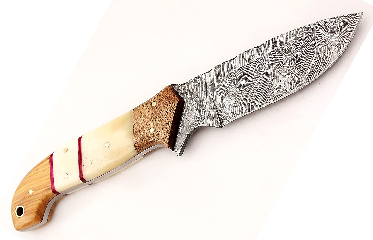 W Trading Custom hand made damascus steel blade gorgeous hunting knife with leather pouch. 2711