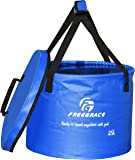 Freegrace Premium Collapsible Bucket By Compact Portable Folding Water Container - Lightweight & Durable - Includes Handy Tool Mesh Pocket