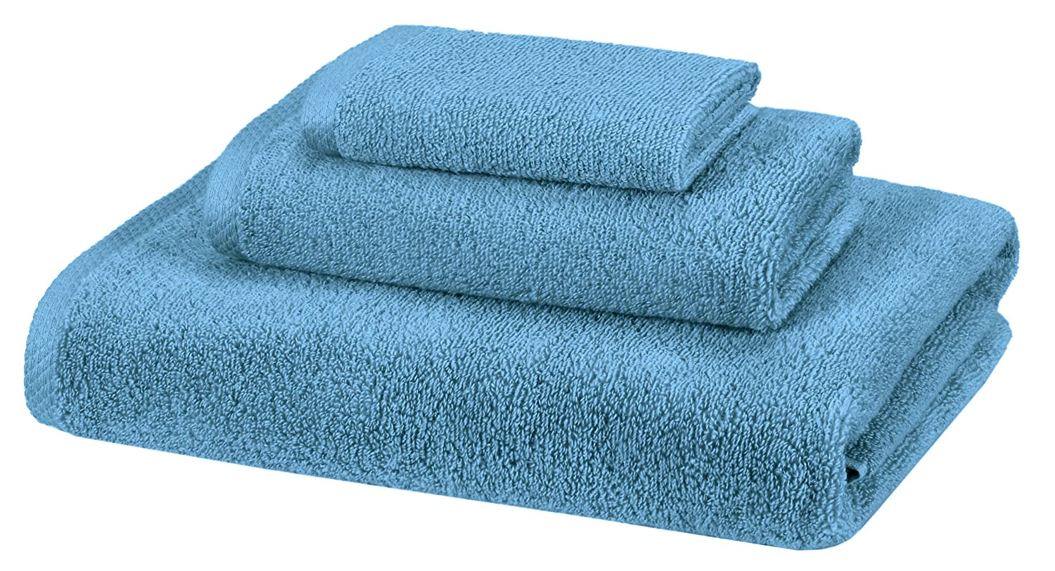 AmazonBasics Quick-Dry 3-Piece Towel Set, Lake Blue