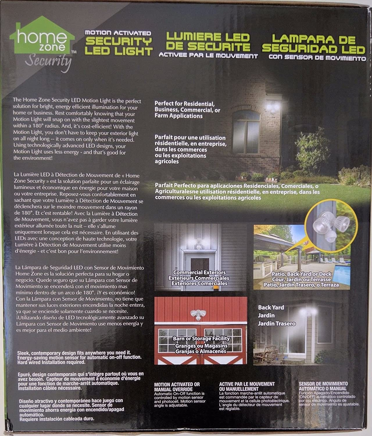 Home Zone AEC-34QA2-AC16W Mark 2 LED Flood Security Light with Motion Sensor, Outdoor Weather Proof, 2500 Lumens, 36 Watts, White