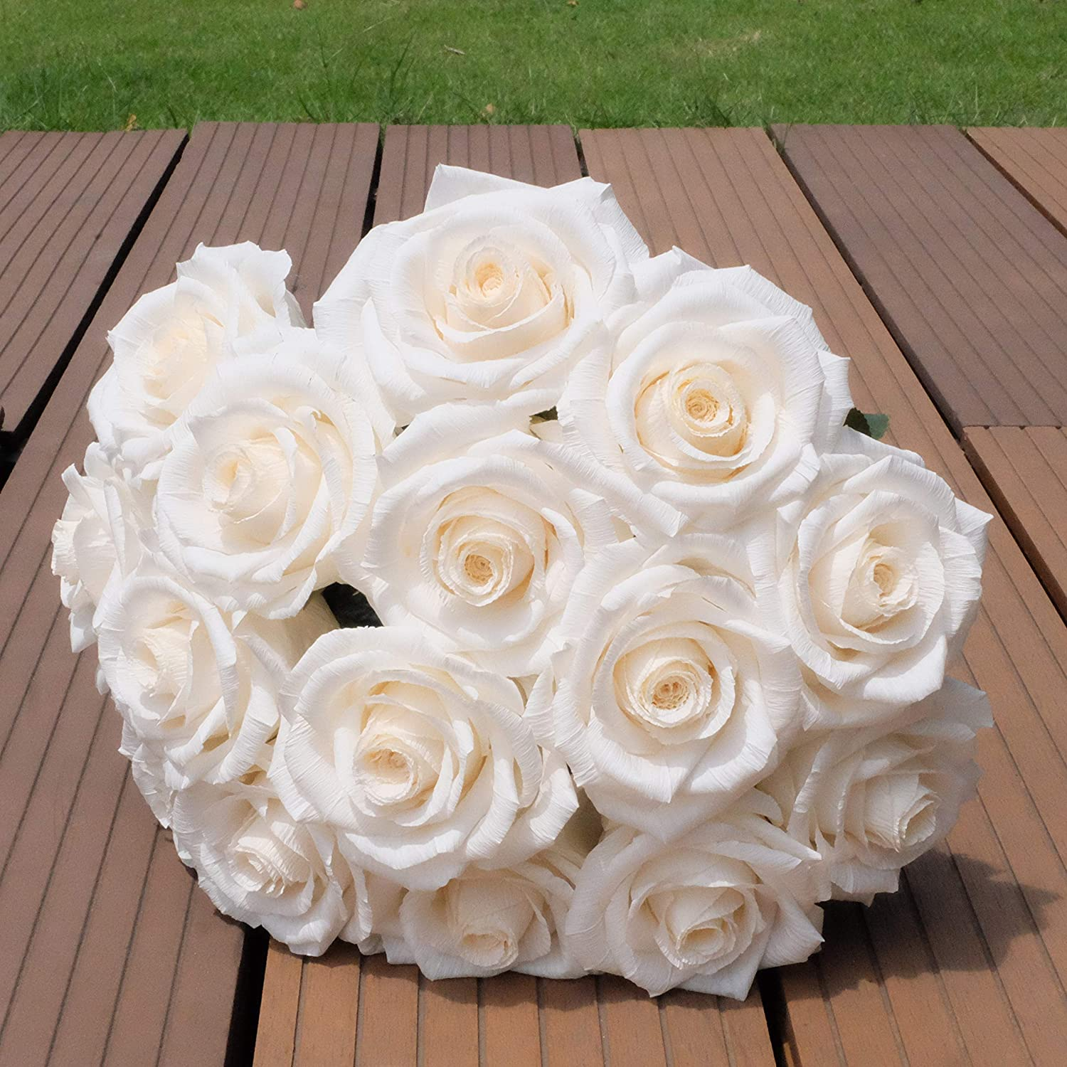 Gorgeous White Paper Rose Handmade Art Crepe Paper Flower Realistic and Unique Ideal for Home Decor Wedding Bridal Bridesmaid Bouquet, Single Long Stem