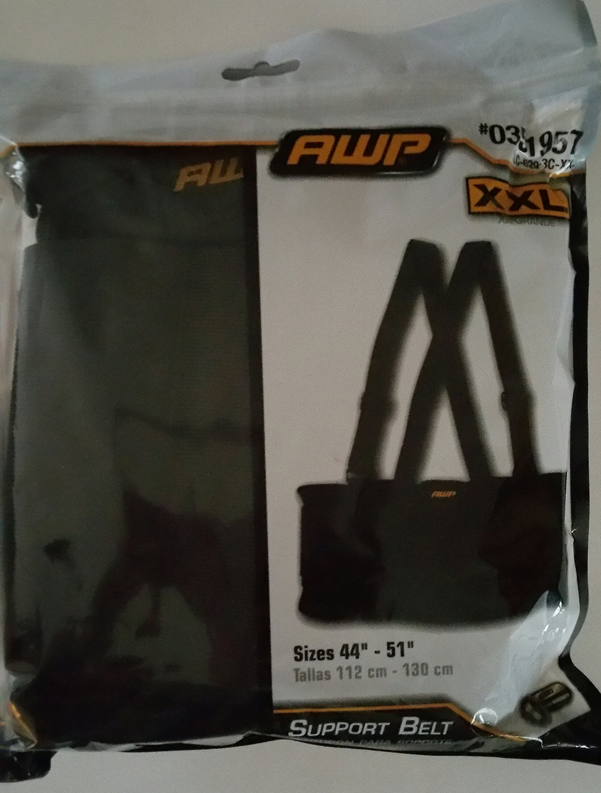 AWP Black XXL Back Support Belt for Sizes 44'' - 51'' 0351957