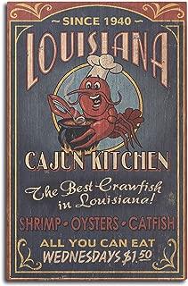product image for Lantern Press Louisiana - Cajun Kitchen Crawfish Vintage Sign (10x15 Wood Wall Sign, Wall Decor Ready to Hang)