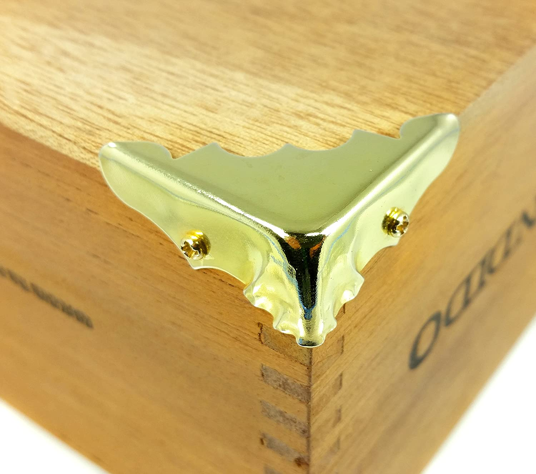 Decorative Brass-Plated Box Corners w//mounting screws 8pcs