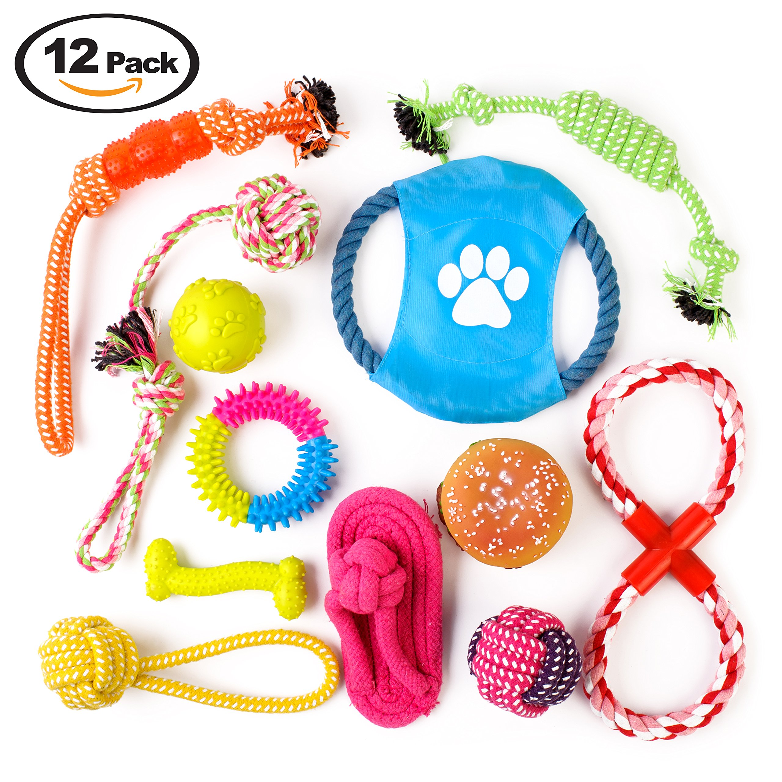 Complete 12 Pack of Dog Toys. Big Set Includes Chew, Rope, Duck, Ball, Throw, Squeak for Small, Medium Dogs, Relieves Boredom for Better Teeth, Training. No Messy Stuffing