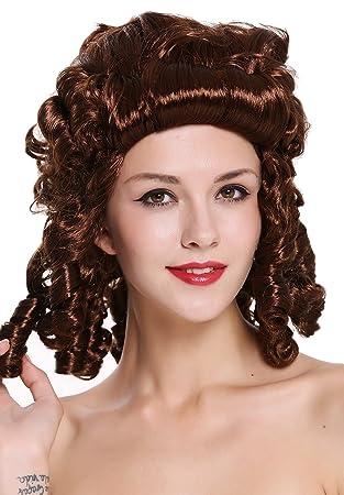 WIG ME UP ® - 91022-ZA33 Peluca Mujer Carnaval Barroco Renacimiento castaño rizos Reina