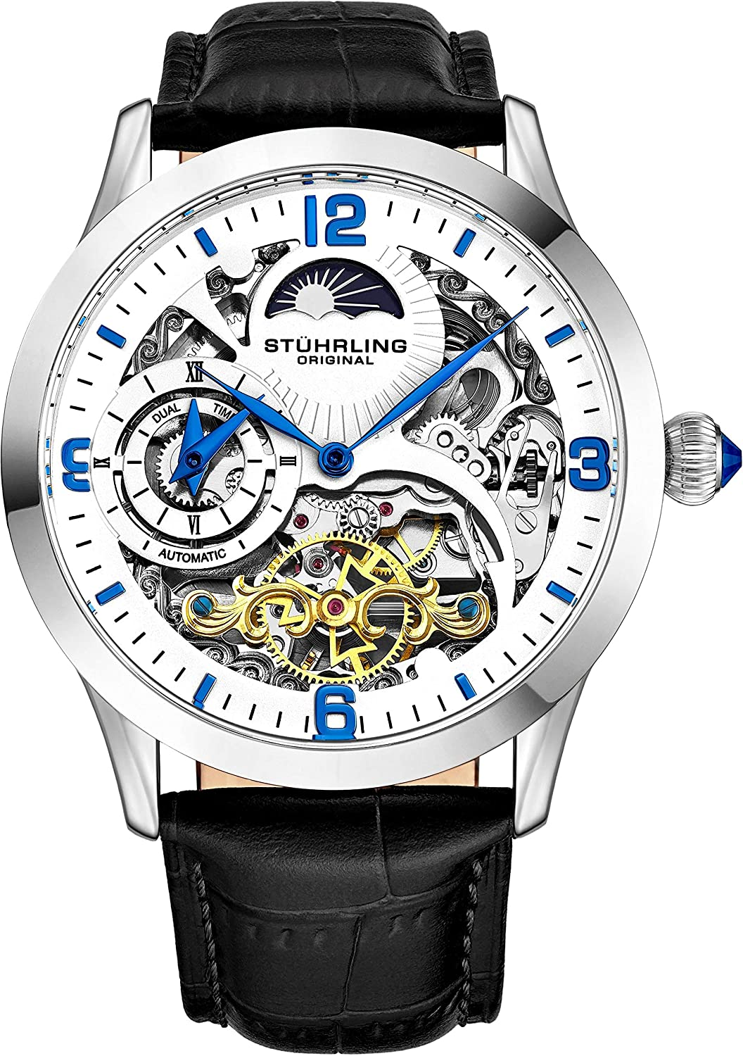 Stührling Original Automatic Watch for Men Skeleton Watch Dial, Dual Time, AMPM Sun Moon, Leather Band, 571 Mens Watches Series