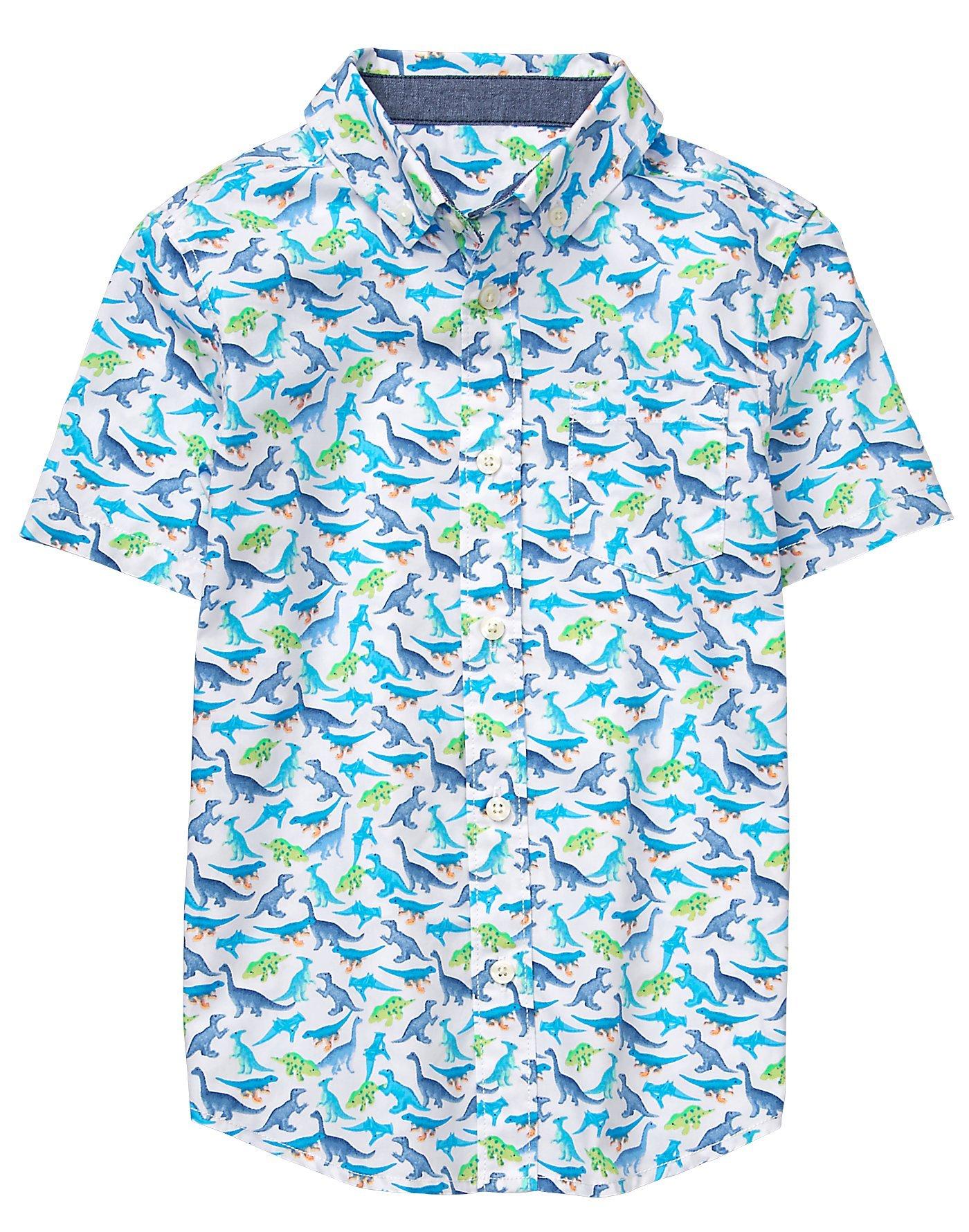 Gymboree Little Boys' Short Sleeve Button up Shirt, Laser Blue Dino, S