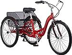 Schwinn Meridian Adult Trike, Three Wheel Cruiser Bike, Multiple Speeds, 26-Inch