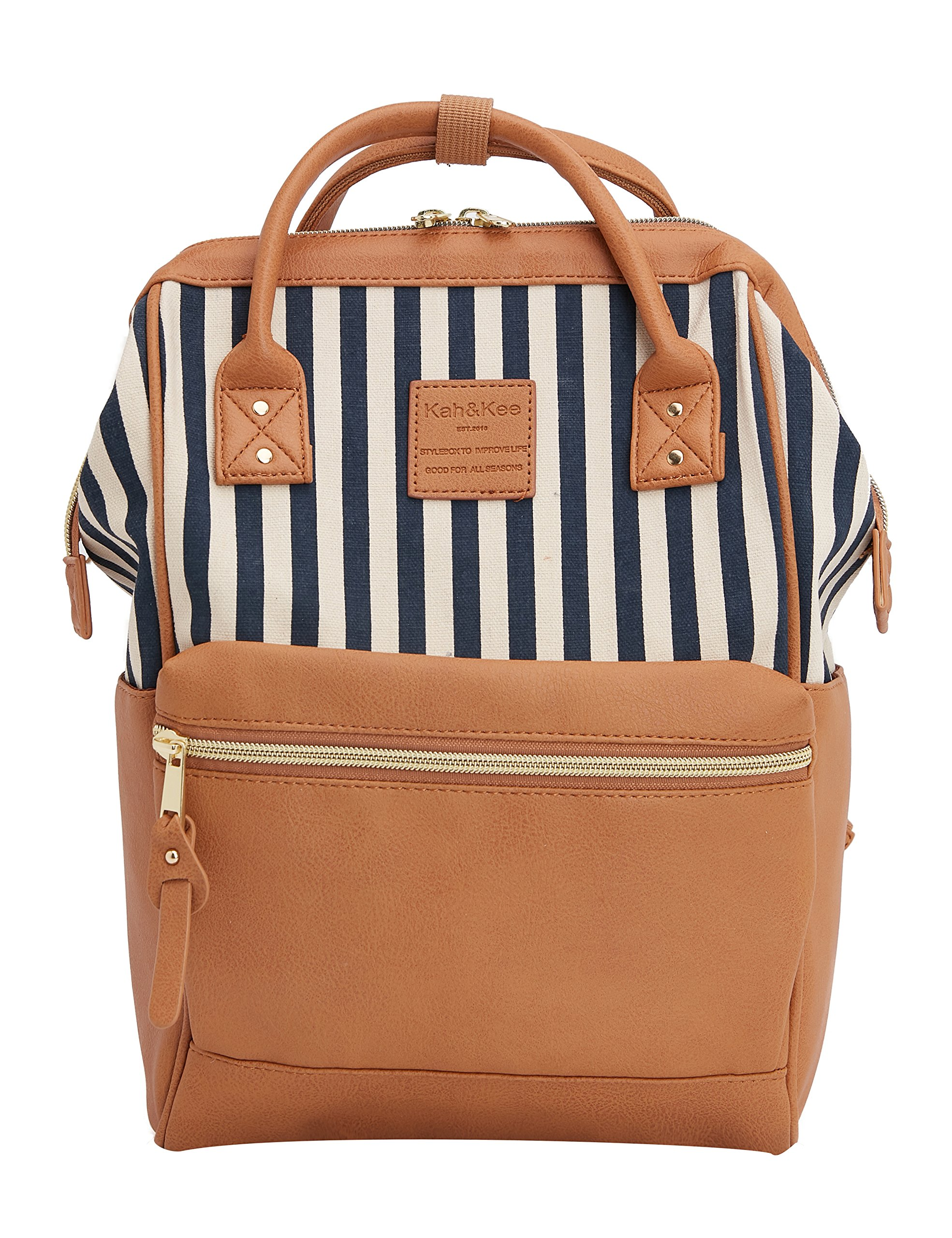 Kah&Kee Travel Backpack Casual Daypack Splice Bag for Women Man Small (Stripe/Camel)