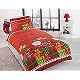 Christmas Presents Regali di Natale bambini Babbo Natale Junior copripiumino e federa, set di biancheria da letto, multicolore