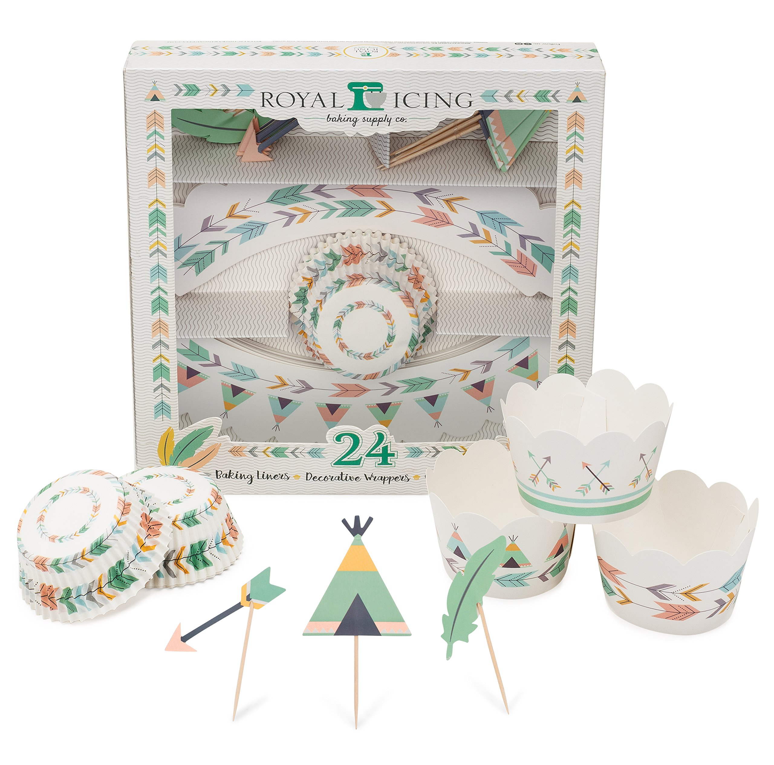 Boho Party Cupcake Decorating Complete Kit Includes Arrow, Teepee, and Feather Toppers, Scale, Tribal, and Bohemian Wrappers, and Extra Bonus! Wild One Baking Liners! by Royal Icing Baking Supply Co.