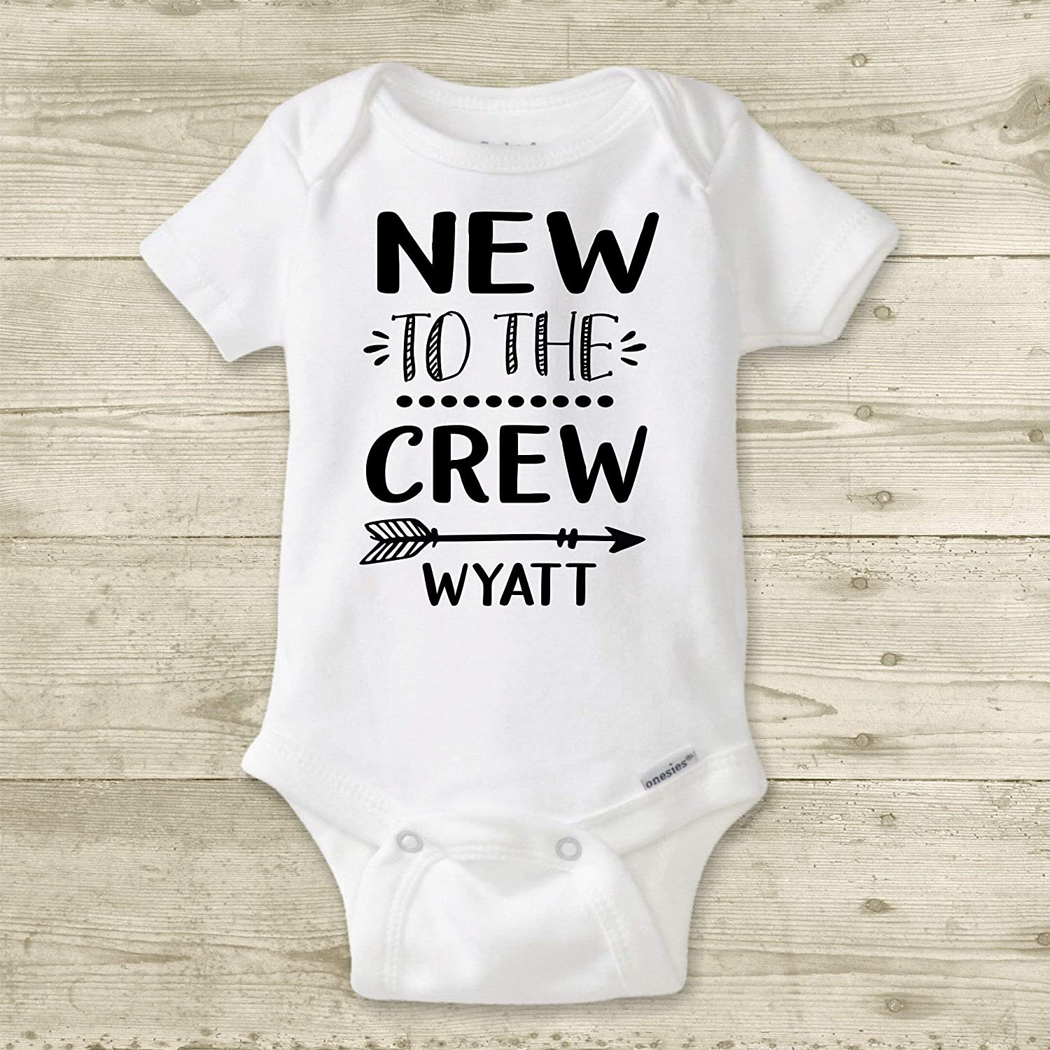 bb7ea6a15 Amazon.com: New to The Crew - Personalized Baby Name Bodysuit. Custom Baby  Shower Gift for Boy or Girl. Newborn Take Home Outfit.: Handmade