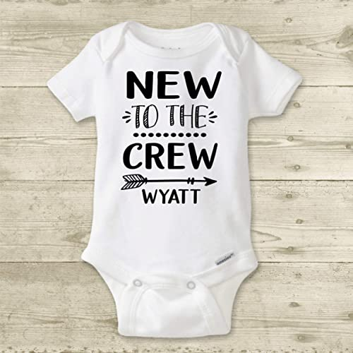 ad052ec03c0ba Amazon.com: New to The Crew - Personalized Baby Name Bodysuit. Custom Baby  Shower Gift for Boy or Girl. Newborn Take Home Outfit.: Handmade