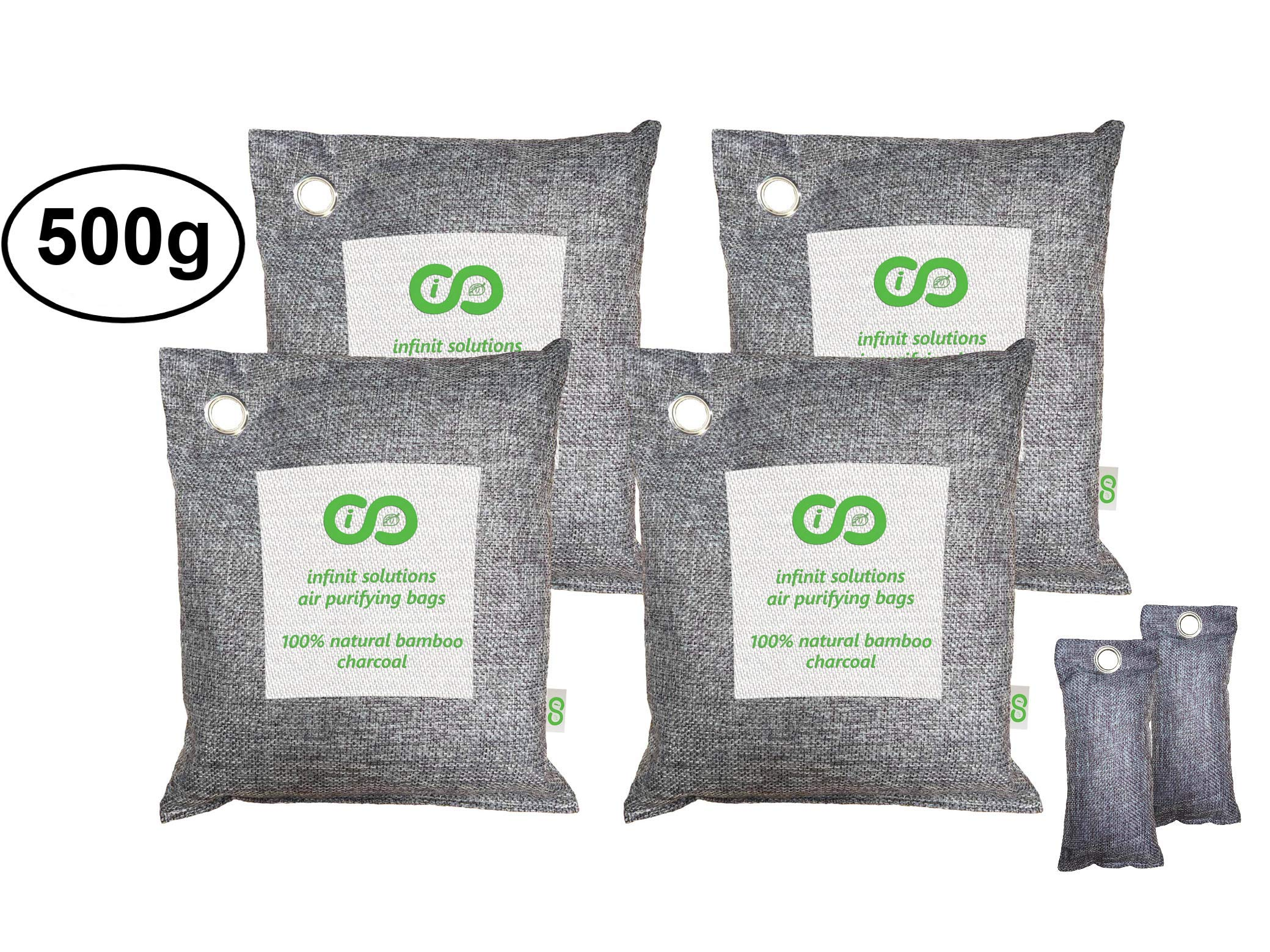 Air Purifying Bags (6 Pack), Car & Pet Odor Eliminator. Natural Activated Bamboo Charcoal Deodorizer, Odor Absorber Remover, Air Freshener. 4 x 500g Bags and 2 x 100g Shoe Deodorizers