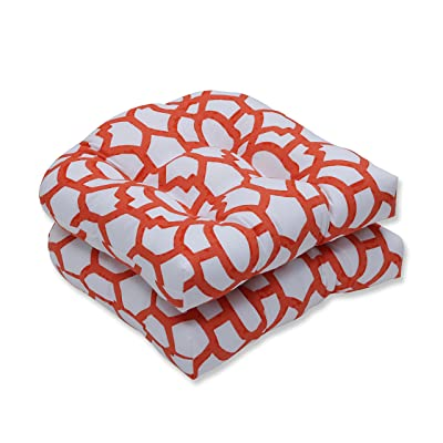 "Pillow Perfect Outdoor/Indoor Nunu Geo Mango Tufted Seat Cushions (Round Back), 19"" x 19"", White, 2 2: Home & Kitchen"
