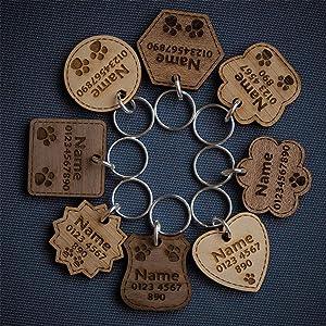 National Engraver Etiquetas de Identificación de Mascotas Perros y Gatos Personalizadas Grabado Madera