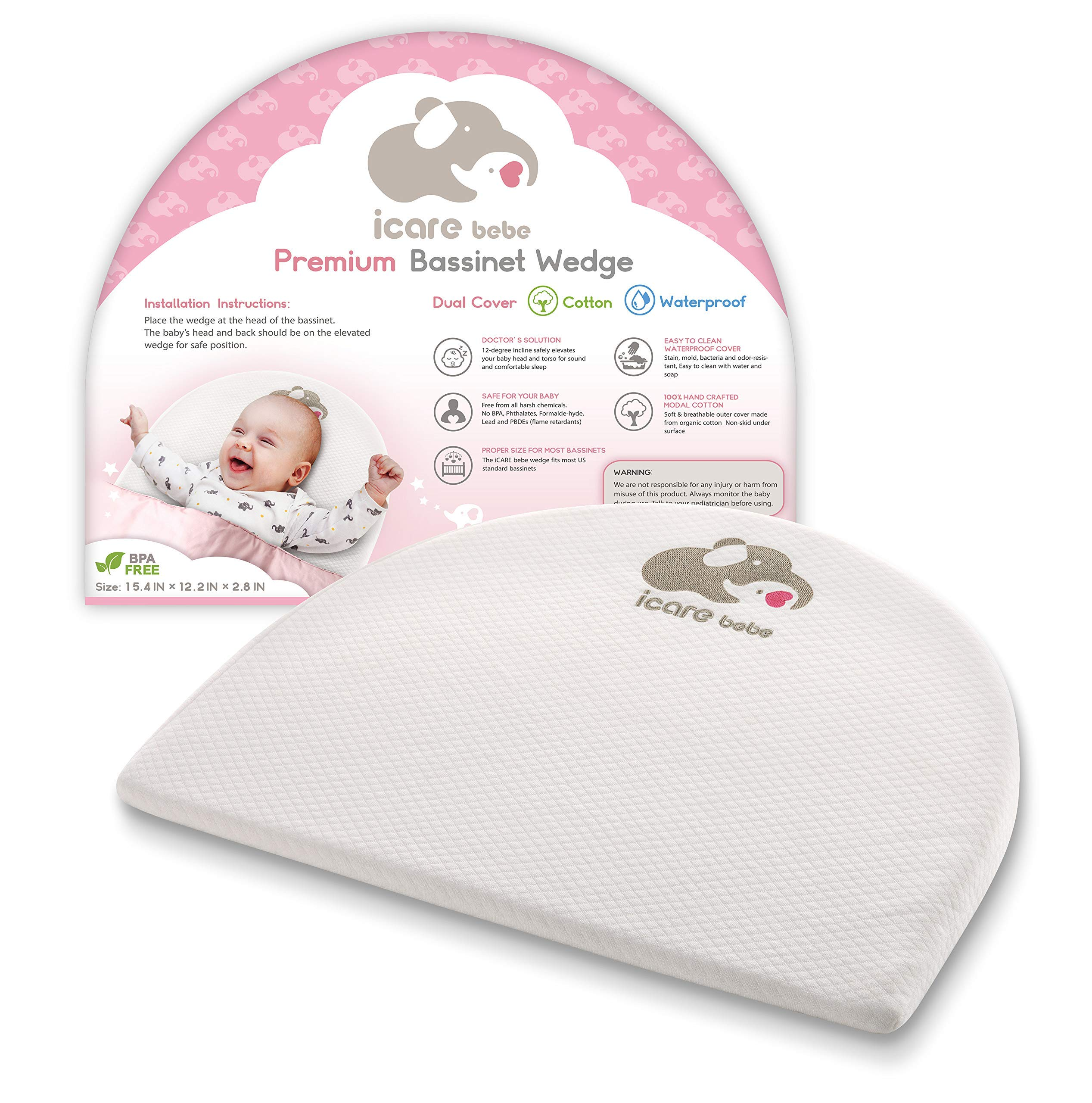 Bassinet Mattress Wedge - Baby Pillow for Acid Reflux - 12-Degree Inclined Baby Sleeper Wedge - Modal Cotton Breathable Fabric - Firm Foam Head Support for Infants - Removable Cover by iCARE bebe