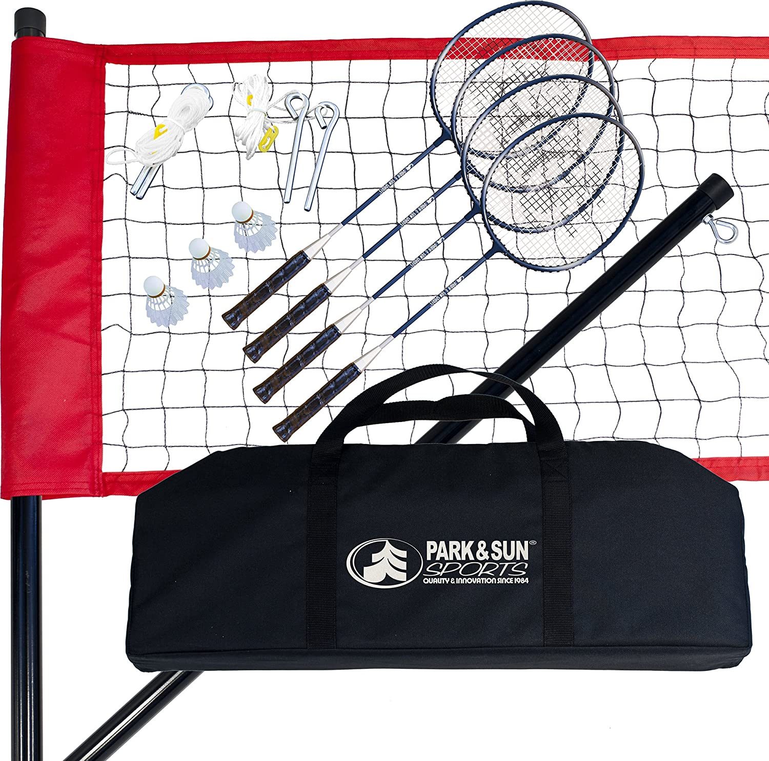 Park & Sun Sports Portable Outdoor Badminton Net System with Carrying Bag and Accessories: Sport Series BM-SPORT-A