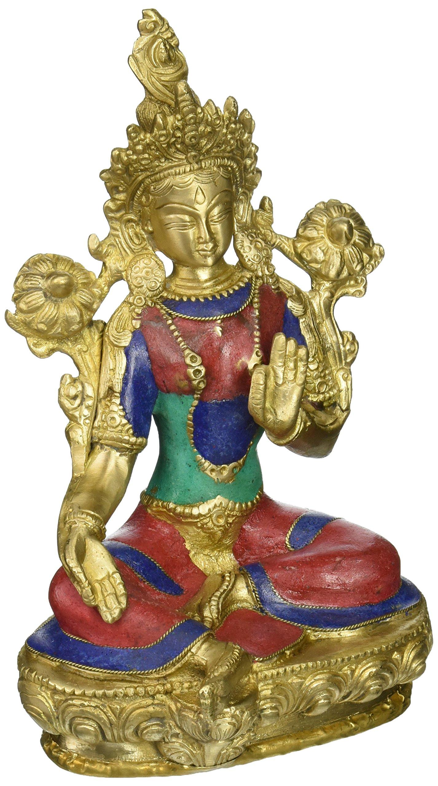 AapnoCraft Attractive Tara Buddha Statue Thai Goddess Lady Buddha Sculpture Brass Buddhist Figurine Garden Decor Valentine Gifts