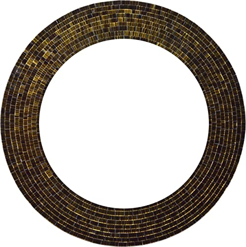 Zorigs Mirror Wall Art D cor Handcrafted Decorative Wall Mirror, Olive Green and Black Glass Mosaic Mirror, Large 24 Round Mirror for Hallway, Bedroom, Bathroom, Living Room