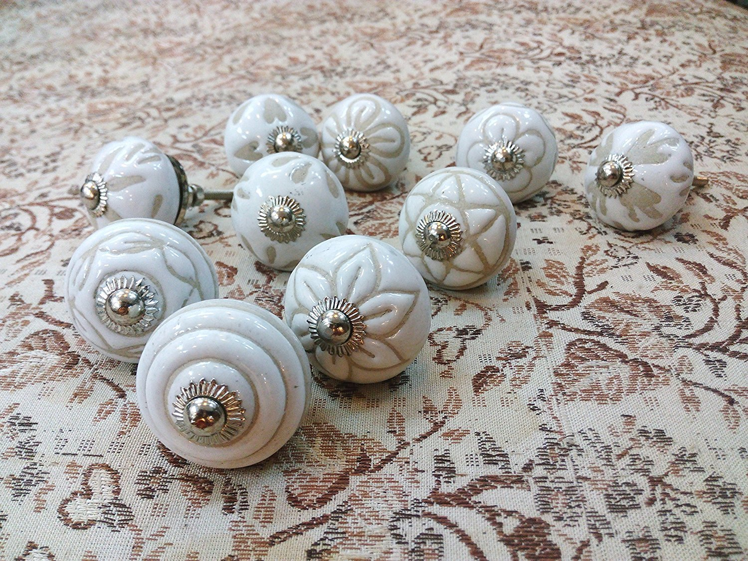 JGARTS 10 Knobs White Hand Painted Ceramic Knobs Cabinet Drawer Pull