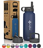 the flow Stainless Steel Water Bottle Double Walled/Vacuum Insulated - BPA/Toxin Free – Wide Mouth with Straw Lid, Carabiner Lid and Flip Lid, 32 oz (1 liter),18oz (500 ml)