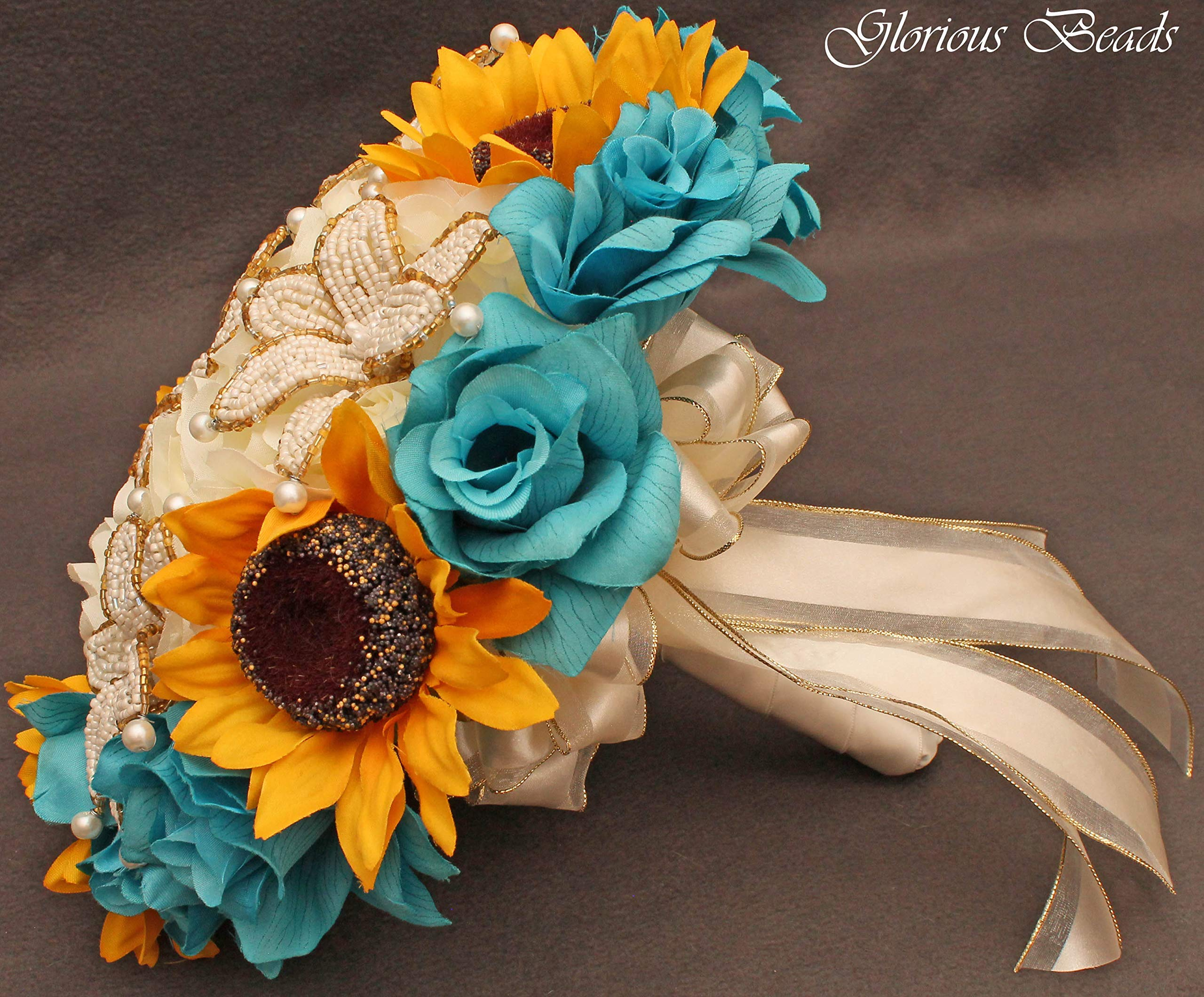 Teal Turquoise And Yellow Sunflower Bridal Bouquets Wedding