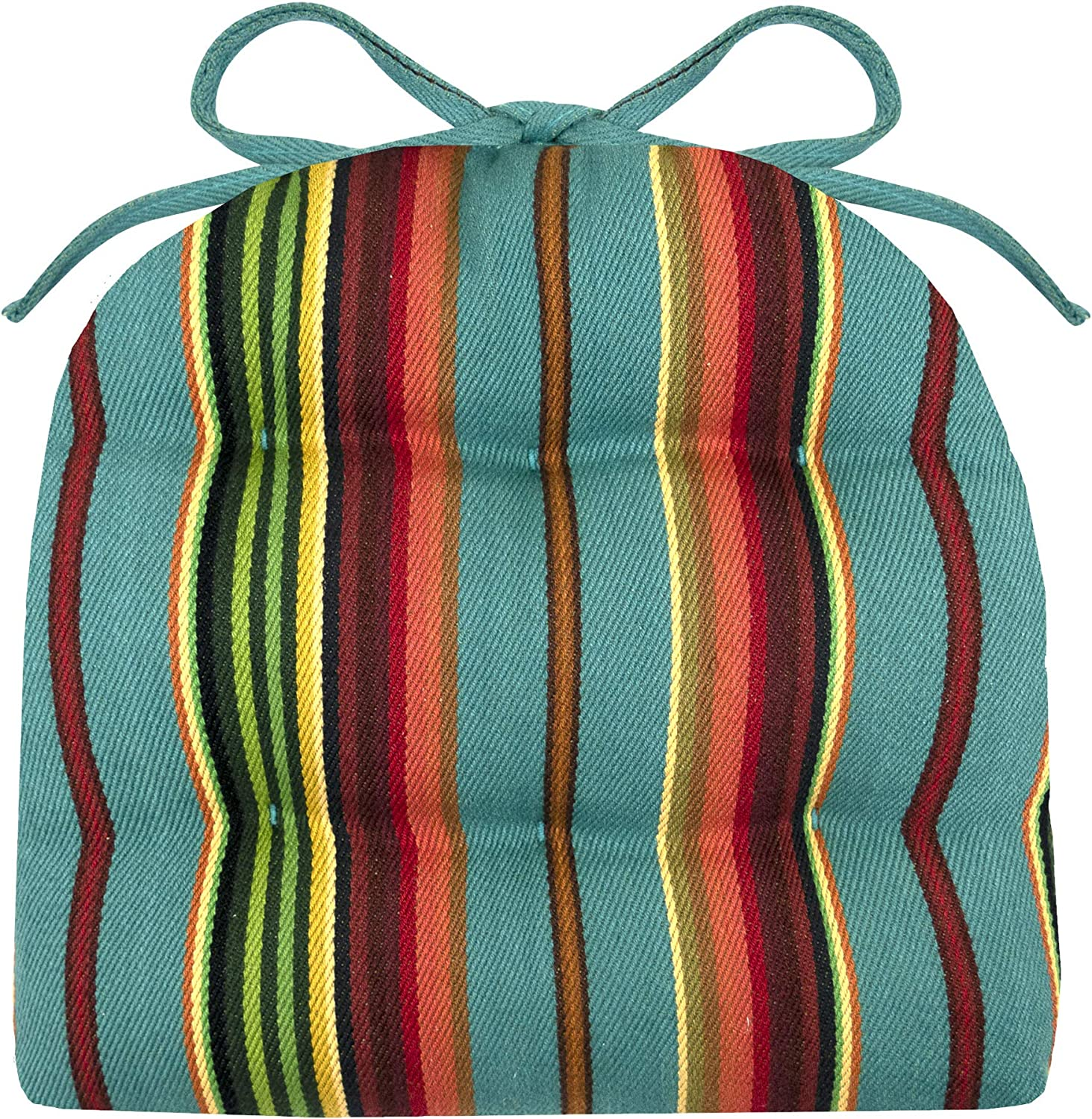 "Barnett Home Decor Santa Fe Serape Stripe 14"" Industrial Chair Cushion with Ties - Fits Most tolix Style Metal Chairs - Made in USA - Reversible - Machine Washable (Striped/Southwest/Teal)"