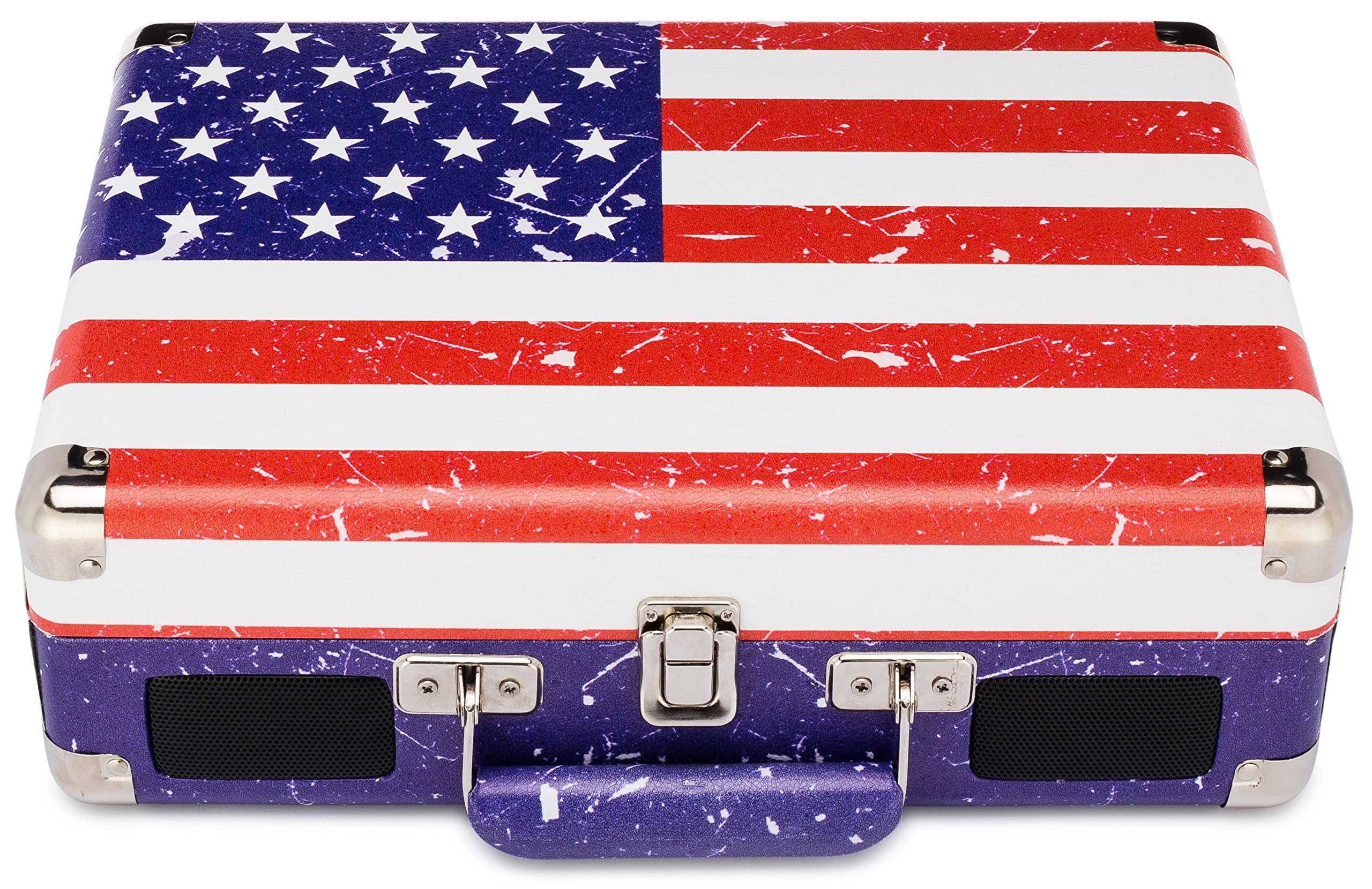 ClearClick Portable 3-Speed Vintage Suitcase/Briefcase Turntable (USA Flag Design) - Vinyl Record Player with Speakers, USB-Out, & MP3 Audio Recording/Editing Software