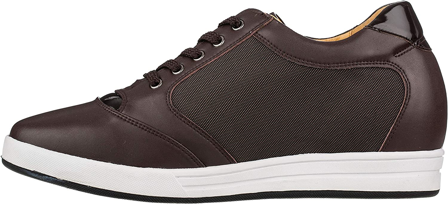 9294b58663e Toto Men's Invisible Height Increasing Elevator Shoes - Dark Brown  Leather/Mesh Lace-up Casual Fashion Sneakers - 3.2 Inches Taller - A53271