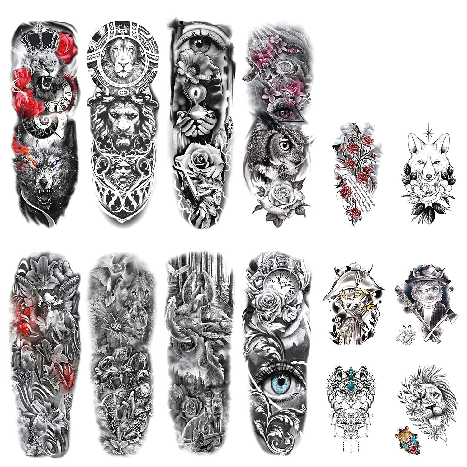 DaLin Extra Large Full Arm Temporary Tattoos and Half Arm Tattoo Sleeves for Men Women, 18 Sheets (Collection 9)