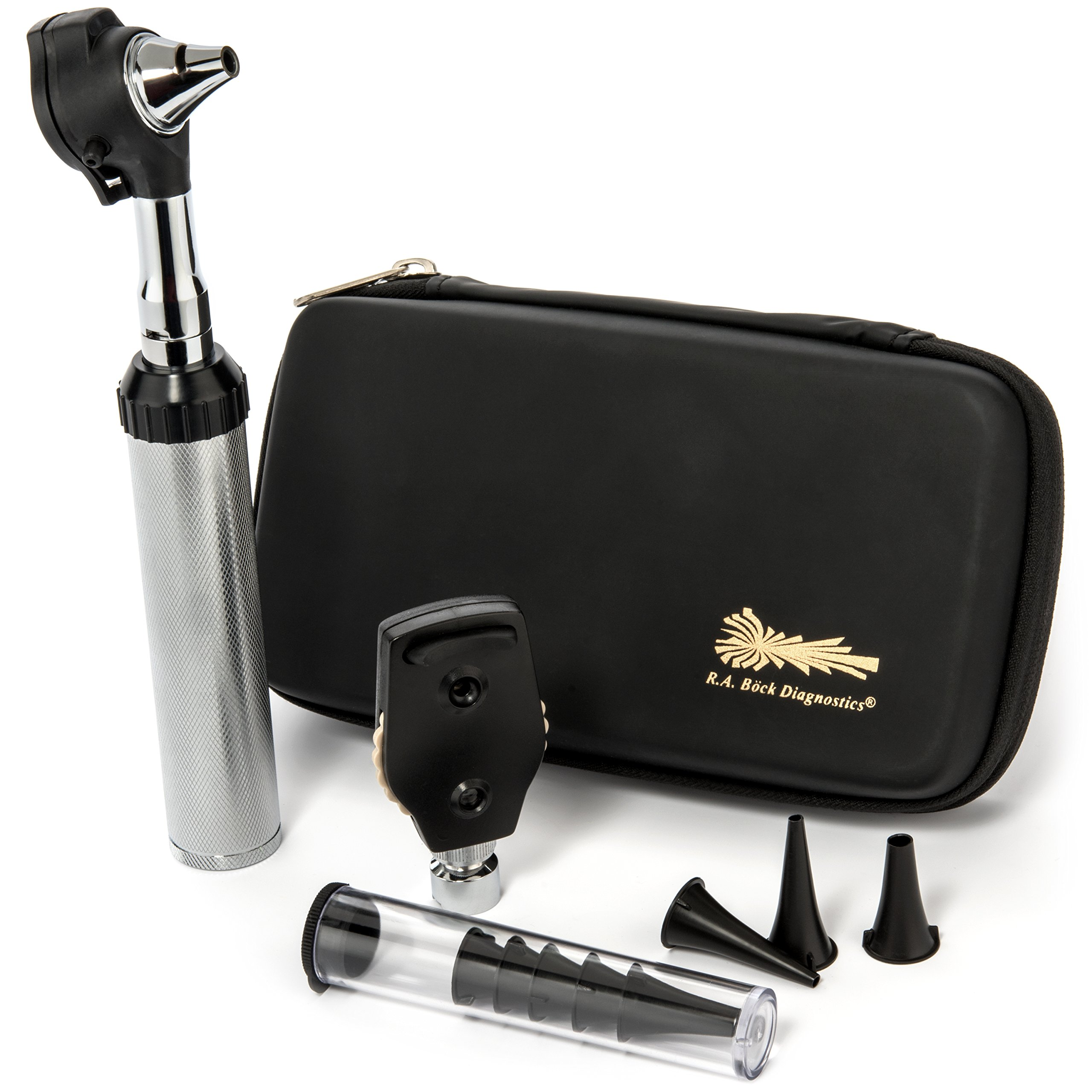 RA Bock Bright White LED Fiber-optic Otoscope with Accessories and Premium Leatherette Shell Case