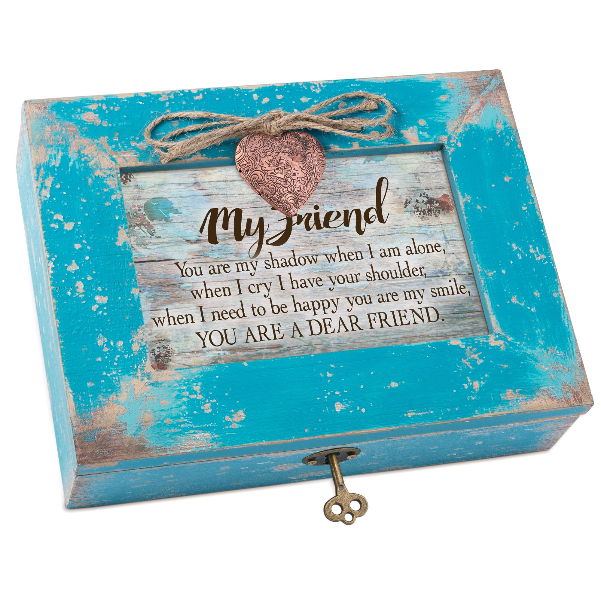 Cottage Garden Smile Dear Friend Teal Distressed Locket Music Box Plays That's What Friends Are