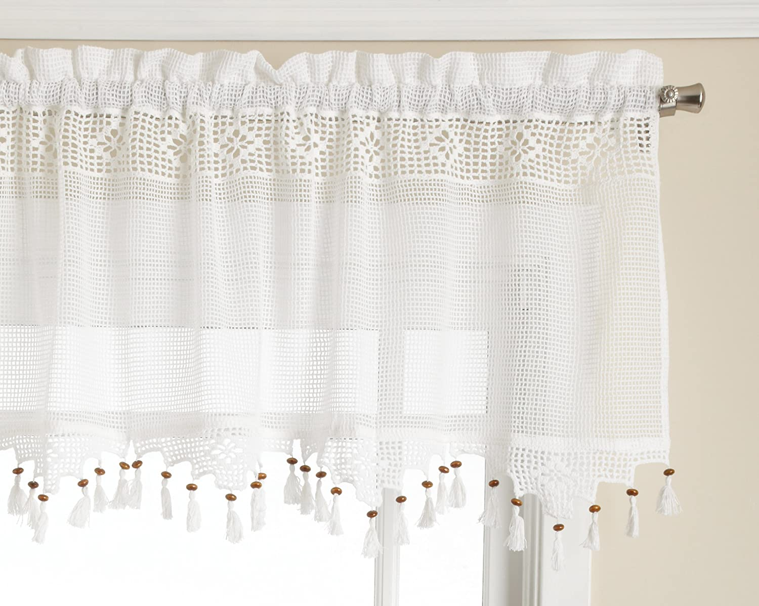 Amazon.com: Todayu0027s Curtain Gettysburg Knitted 20 Inch Crochet With Beaded  Tassel Valance, White: Home U0026 Kitchen