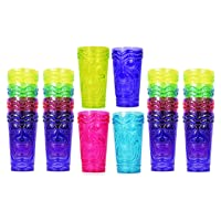 Set of 24 Party Tiki Cups! BPA Free 16 Ounce Tumbler Drinkware Set Luau Shape! 4 Bright Colors! Tiki Mugs! Reusable Plastic Party Cups!