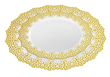 40 Piece Gold Disposable Plastic Plates Hard And Reusable Real China Look Party Package Set Includes 10 Inch Dinner Plates And 7 5 Inch