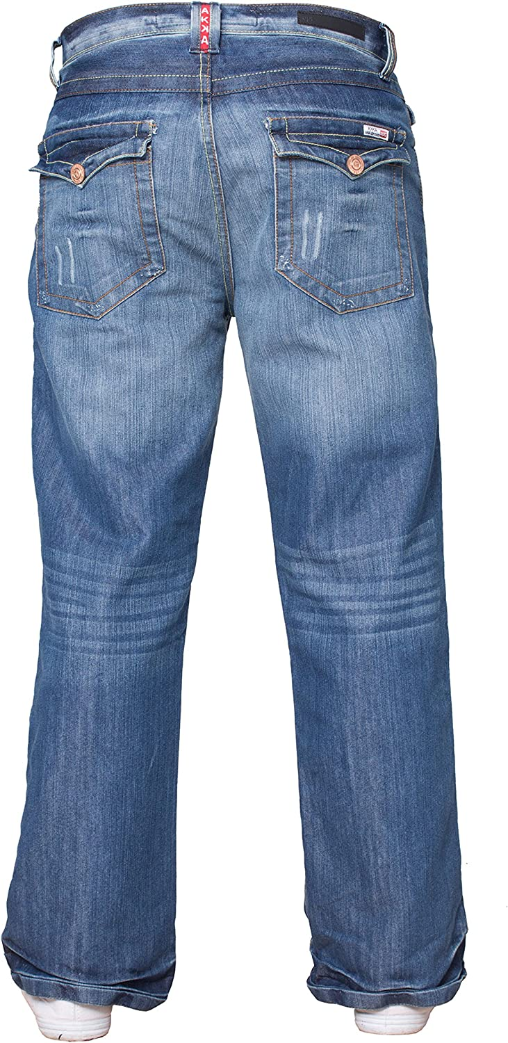 APT Mens Basic Blue Bootcut Wide Leg Flared Work Casual Jeans Big